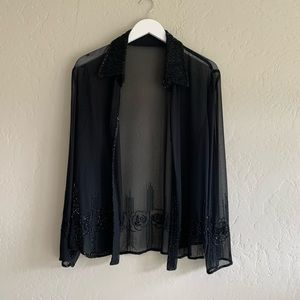 Vintage Beaded Sheer Black Blouse